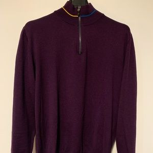 Etro 1/4 Zip Wool + Leather Sleeve-Patch Sweater